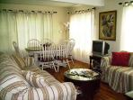 Comfortable quality furnishings, w/d, d/w, cable TVs/DVD, music/movie library; kids swingset, games,