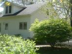 Shaded front yard -east facing and big sunny side & back yard w/toddler swingset and playhouse;