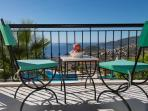 Seating on the master bedroom balcony with a fabulous view of Kalkan Bay