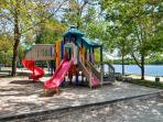 The nearby lake has a playground that's perfect for the kids.