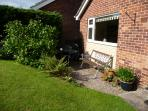 Sunny patio for some alfresco dining on our Denby and drinking a nice bottle of local wine