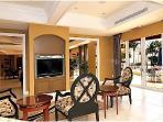 Club house interior, TV room.
