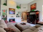 Cozy up to the fire on the plush couch and enjoy the 42' HDTV