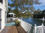 Lakefront home with wrap around deck for the whole family to enjoy being outside.