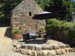 Sun-trap patio