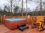 Hot tub on the deck. easy access from downstairs master bedroom