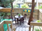 Outside rear courtyard w/ tables, chairs & grill