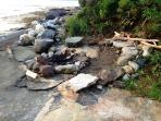 Fire pit on rocks