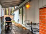 Enjoy a glass of wine while BBQing on the deck next to the kitchen