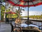 Enjoy a spectacular view of the water from the furnished patio