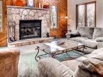 The beautiful wood burning fireplace.