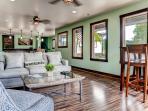 Kick back on the home's wonderfully comfortable furnishings.