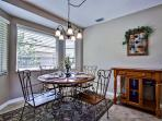 Enjoy your meals in this quaint dining area.