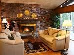 Living room w/fireplace & sliders to deck, flat screen TV w/DVR & DVD
