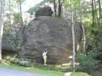 Huge boulders preserve the wilderness setting