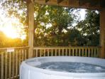 Enjoy the hot tub on the deck