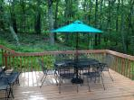 Newly stained deck backing to 5 acres of privacy