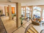 Stylish, marbled Pavilion lobby.