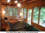 Screened porch with Ping-Pong