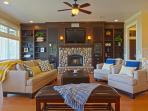 Grand, Living / Gathering room, open to huge Chef\'s Kitchen, & Covered Porch