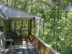 Back deck overlooking stream & stocked pond!