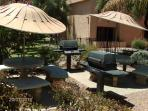3 BBQ areas with shaded tables available on the pr