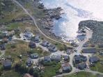 Saltbox (top left ) & harbour view from the mountain sheltering the village.