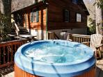 Soak your cares away in the home's alluring private outdoor hot tub!