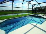 Pool & spa facing lake