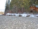 Wenatchee Riverbank setting in snow, the cabin is accessible all year!