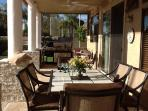 Out side covered patio with Dining set