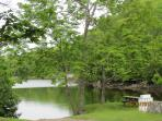 Tidal cove in Round Pond harbor. Public boat ramp is here (just below house)