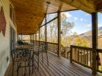 The covered deck offers shade and protection from the elements.