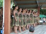 Young Maori performers celebrate NZ culture  just across the Bay at Waitangi.