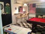 Pool Table, Stools, Sofa, Air Hockey & Darts