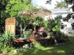 Backyard relaxing area outdoor patio