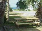 picnic table with view of gulf
