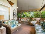 Big lanai, pleasantly furnished, porch swing too.