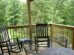 Master Bedroom Deck in Summer with Lake & Mountain Views