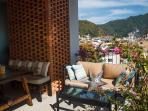 Outdoor dining table, custom-designed patio furniture