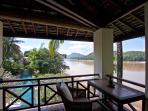 Balcony with swimming pool and Mekong river view