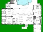 Villa layout with four bedrooms, great room, lanai, pool and morning porch.