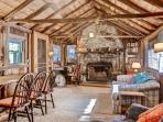 The interior boasts a rustic yet elegant ambiance.