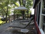 Deck with covered shady gazebo for outside dining