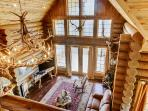 Looking down into the gorgeous main living area