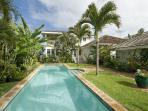 Garden and heated swimming pool.  Walk past this to reach the front door entry way