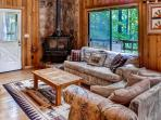 Plenty of room to spread out and relax in the cabin's homey interior