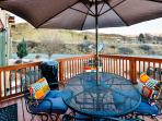 With a gas grill and outdoor dining area, the deck is perfect for entertaining.