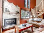 Snuggle up next to the warmth of the fireplace