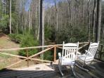 The deck overlooking the creek and Forest